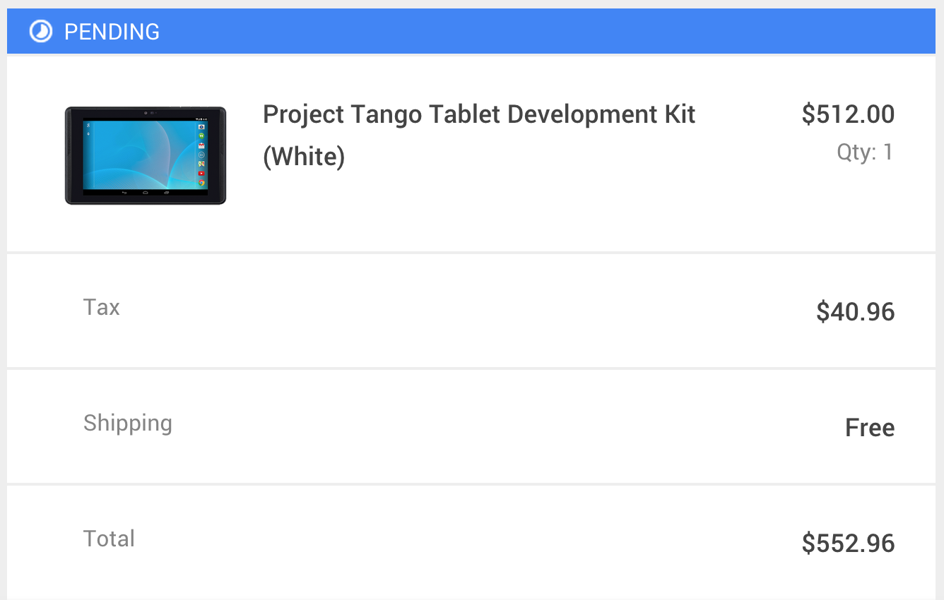 Project Tango Order